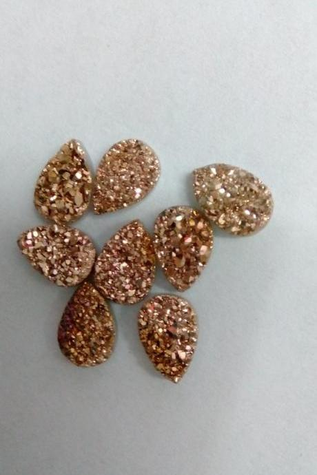 Natural 16x12mm 5 Pieces Rose Gold Color Coating Flat Druzy Pear Best Top Rose Gold Color Gemstone Lot