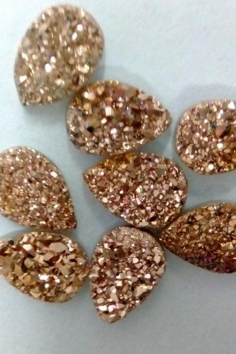 Natural 18x13mm 100 Pieces Rose Gold Color Coating Flat Druzy Pear Best Top Rose Gold Color Gemstone Lot