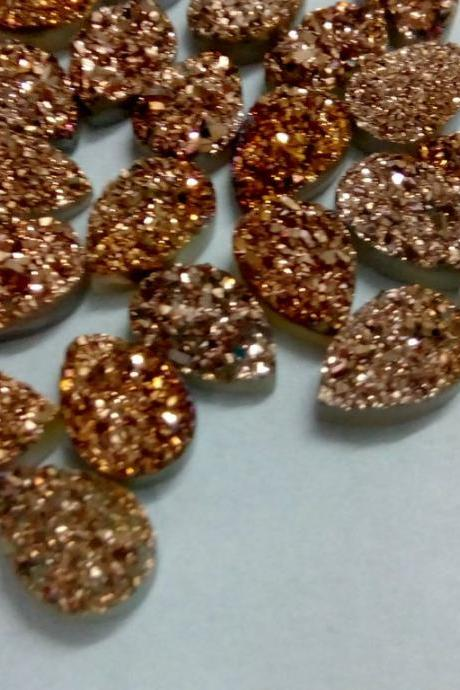 Natural 15x20mm 25 Pieces Rose Gold Color Coating Flat Druzy Pear Best Top Rose Gold Color Gemstone Lot