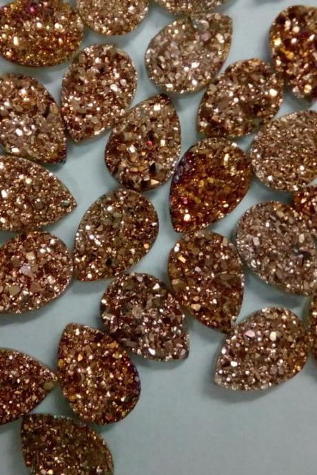 Natural 15x20mm 50 Pieces Rose Gold Color Coating Flat Druzy Pear Best Top Rose Gold Color Gemstone Lot