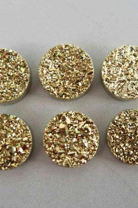 Natural 12mm 5 Pieces Gold Color Coating Flat Druzy Round Best Top Gold Color Gemstone Lot