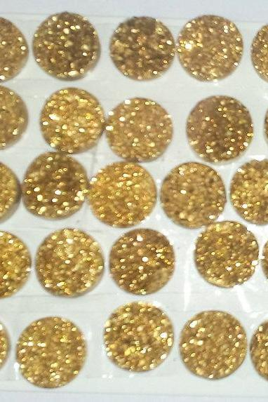 Natural 16mm 5 Pieces Gold Color Coating Flat Druzy Round Best Top Gold Color Gemstone Lot