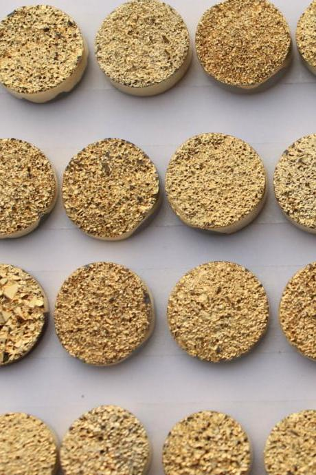 Natural 16mm 50 Pieces Gold Color Coating Flat Druzy Round Best Top Gold Color Gemstone Lot