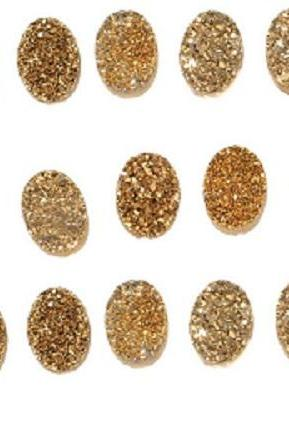 Natural 8x6mm,7x9mm,8x10mm 25 Pieces Gold Color Coating Flat Druzy Oval Best Top Gold Color Gemstone Lot