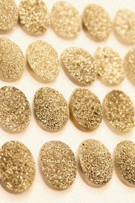 Natural 16x12mm 10 Pieces Gold Color Coating Flat Druzy Oval Best Top Gold Color Gemstone Lot