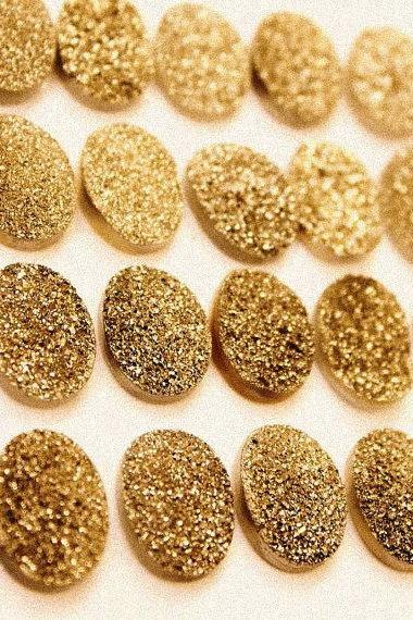 Natural 16x12mm 100 Pieces Gold Color Coating Flat Druzy Oval Best Top Gold Color Gemstone Lot