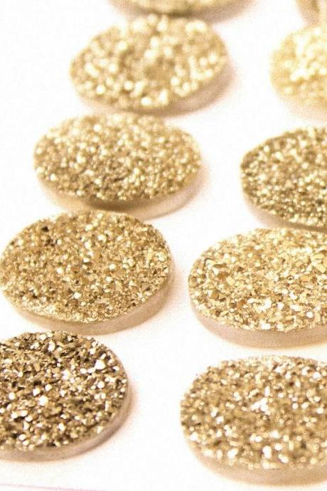 Natural 18x13mm 10 Pieces Gold Color Coating Flat Druzy Oval Best Top Gold Color Gemstone Lot