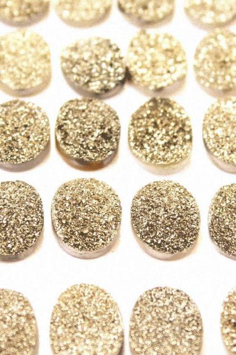 Natural 18x13mm 50 Pieces Gold Color Coating Flat Druzy Oval Best Top Gold Color Gemstone Lot