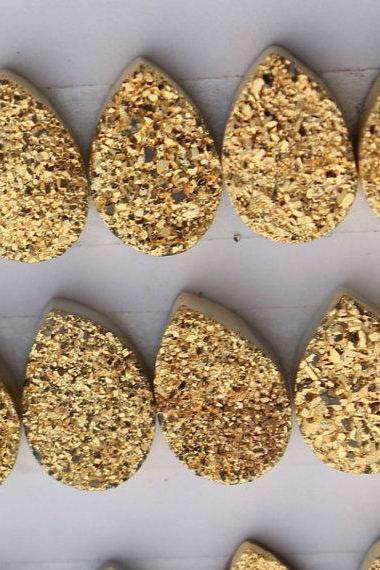 Natural 10x14mm 50 Pieces Gold Color Coating Flat Druzy Pear Best Top Gold Color Gemstone Lot