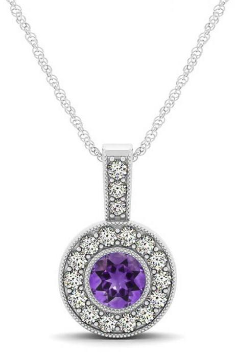 925 Silver Natural Amethyst 6mm Round And White Topaz Gemstone Pendant
