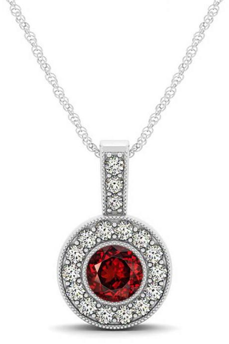 925 Silver Natural Garnet 6mm Round And White Topaz Gemstone Pendant