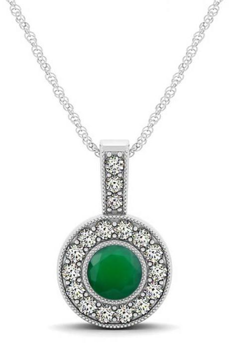 925 Sterling Silver Pendant With Genuine Natural Green Onyx 6mm Round Cut And White Topaz Gemstone Pendant