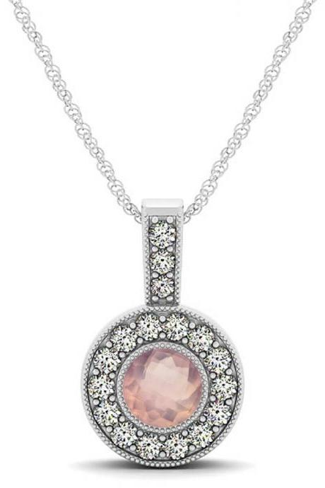 925 Sterling Silver Pendant With Genuine Natural Rose Quartz 6mm Round Cut And White Topaz Gemstone Pendant