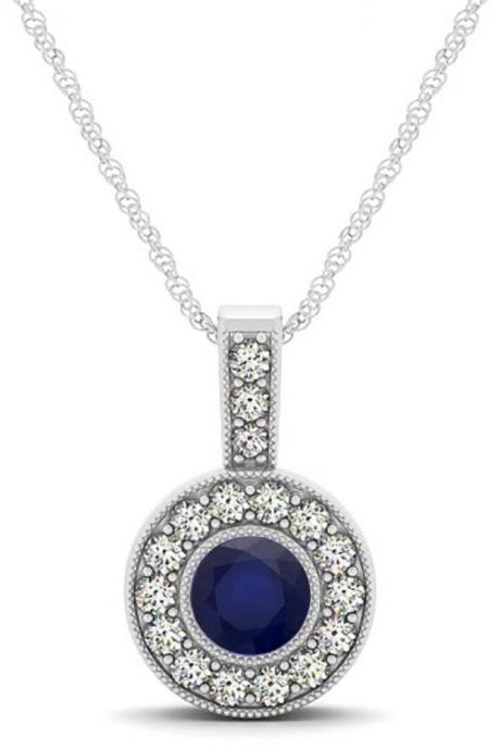 925 Sterling Silver Pendant With Genuine Natural Blue Sapphire 6mm Round Cut And White Topaz Gemstone Pendant