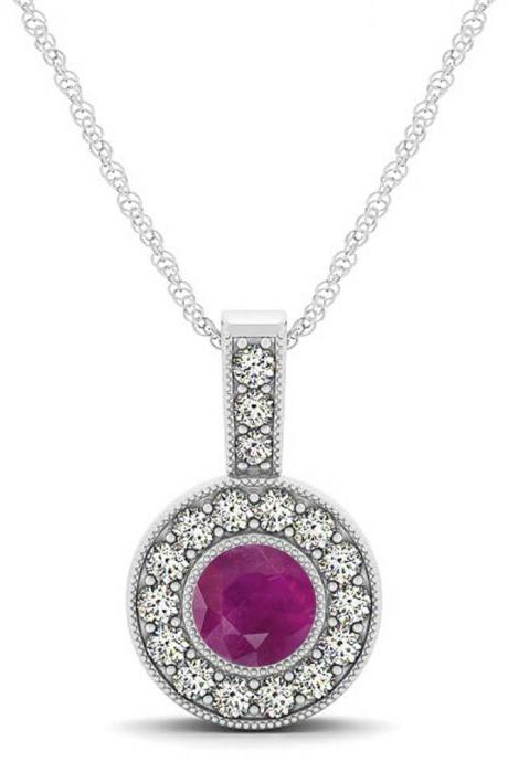 925 Sterling Silver Pendant With Genuine Natural Ruby 6mm Round Cut And White Topaz Gemstone Pendant