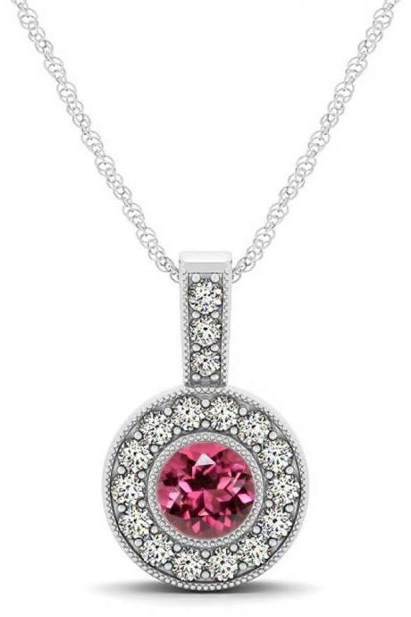 925 Sterling Silver Pendant With Genuine Natural Pink Tourmaline 6mm Round Cut And White Topaz Gemstone Pendant