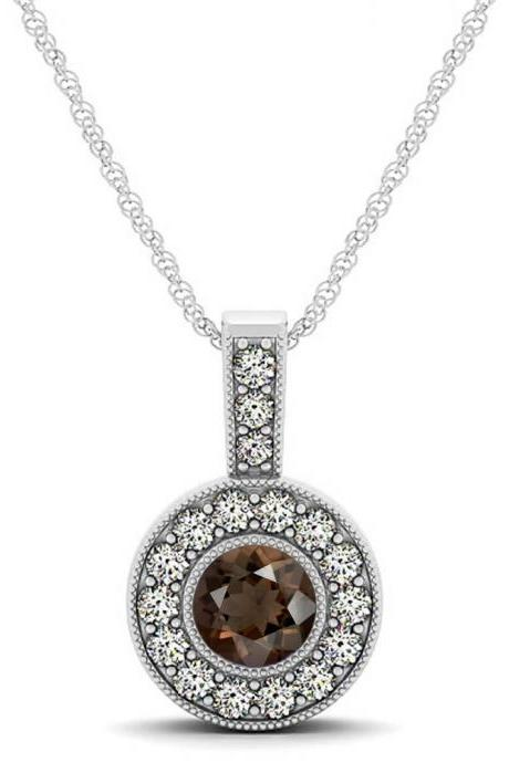 925 Sterling Silver Pendant With Genuine Natural Smoky Quartz 6mm Round Cut And White Topaz Gemstone Pendant