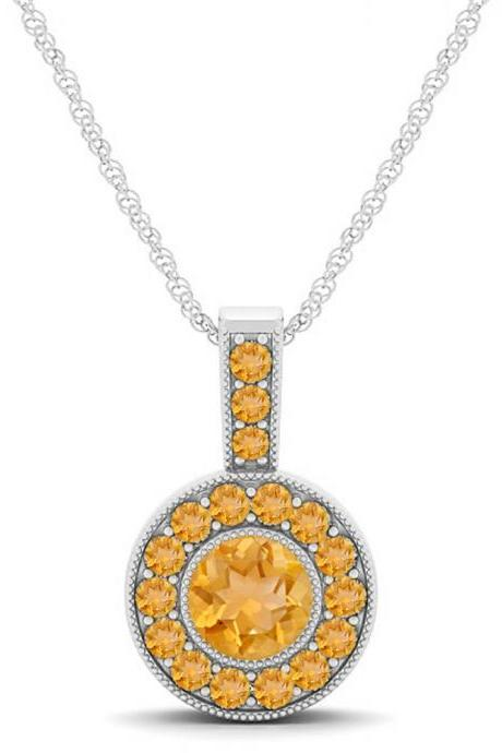 925 Sterling Silver Pendant Natural Citrine 6mm Round Cut Gemstone Pendant