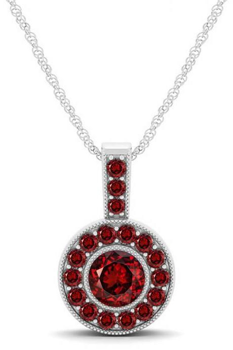 925 Sterling Silver Pendant Natural Garnet 6mm Round Cut Gemstone Pendant