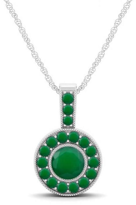 925 Sterling Silver Pendant Natural Green Onyx 6mm Round Cut Gemstone Pendant