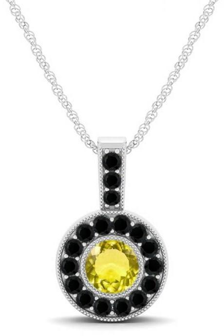 925 Sterling Silver Pendant Natural Lemon Quartz 6mm Round Cut With Black Spinel Gemstone Pendant