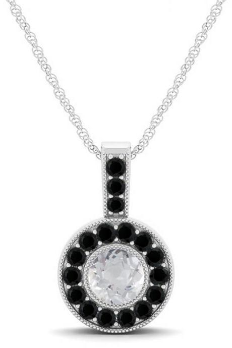 925 Sterling Silver Pendant Natural White Topaz 6mm Round Cut With Black Spinel Gemstone Pendant