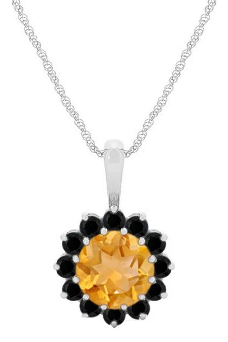 925 Sterling Silver Pendant Natural Citrine 6mm Round Cut With Black Spinel Gemstone Pendant