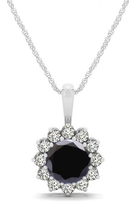 925 Silver Natural Black Spinel 6mm Round And White Topaz Gemstone Pendant