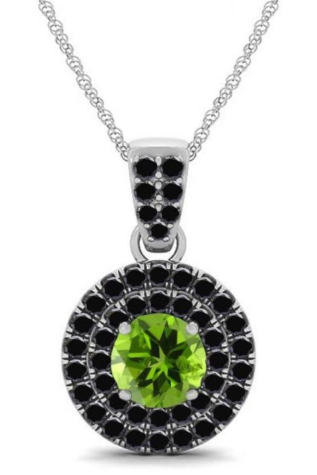 925 Sterling Silver Pendant Natural Paridot 6mm Round Cut With Black Spinel Gemstone Pendant