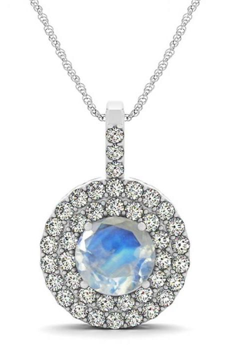 925 Silver Natural Rainbow Moonstone 6mm Round And White Topaz Gemstone Pendant