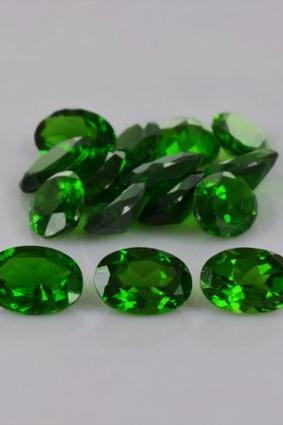 Natural Chrome Diopside 7x5mm 5 Pieces Lot Faceted Cut Round Green Color - Natural Loose Gemstone