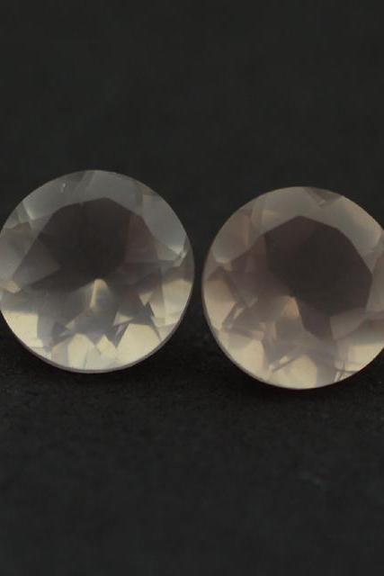 Natural Rose Quartz - 12mm 2 Pieces Faceted Cut Round Pink Color - Natural Loose Gemstone