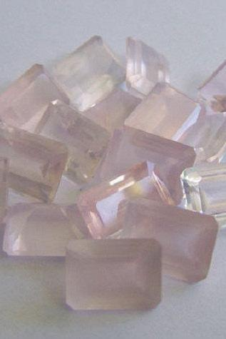 Natural Rose Quartz - 8x6mm 50 Pieces Lot Faceted Cut Octagon Pink Color - Natural Loose Gemstone