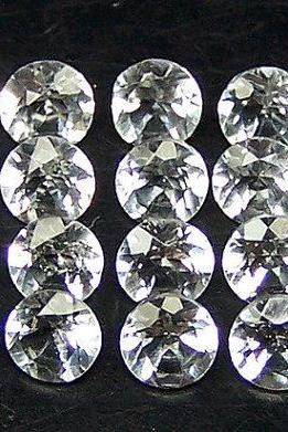 Natural White Topaz Calibrated Size 8mm 10 Pieces Lot Faceted Cut Round Natural - Loose Gemstone