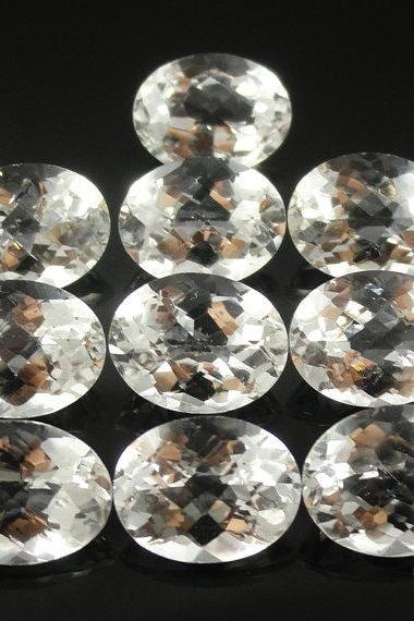 Natural White Topaz Calibrated Size 8x10mm 100 Pieces Lot Faceted Cut Oval Natural - Loose Gemstone