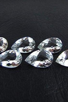 Natural White Topaz Calibrated Size 6x4mm 10 Pieces Lot Faceted Cut Pear Natural - Loose Gemstone