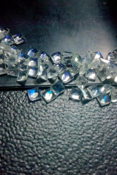 Natural Rainbow Moonstone 3mm 5 Pieces Lot Faceted Cut Square Top Quality Blue Power - Loose Gemstone