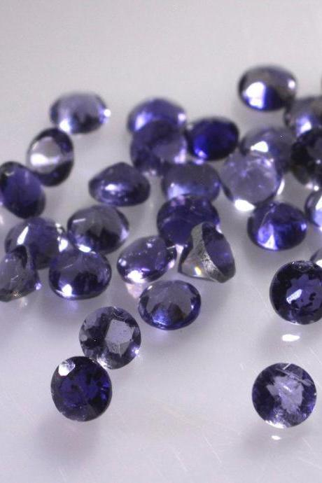 Natural Iolite 4mm 5 Pieces Lot Faceted Cut Round Blue Color - Natural Loose Gemstone