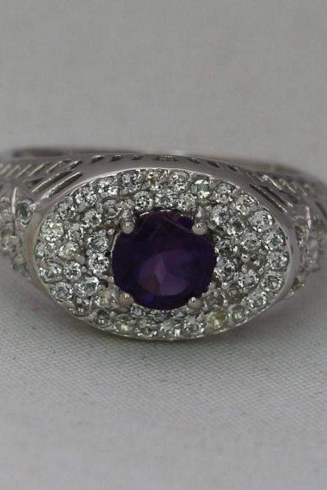 925 Solid Silver Ring Natural Amethyst 6mm Faceted Cut Round Purple Color With White Topaz Gemstone Ring