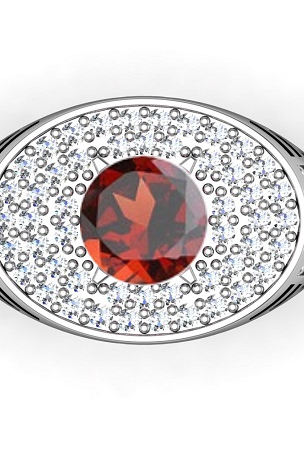 925 Solid Silver Ring Natural Red Garnet 6mm Faceted Cut Round Red Color With White Topaz Gemstone Ring