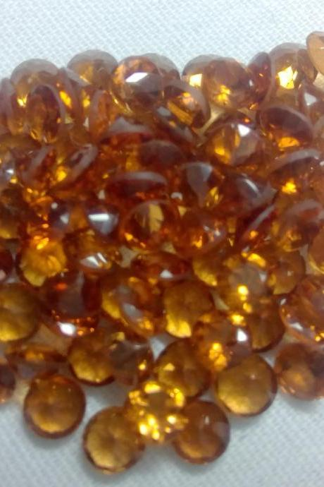 2.5mm Natural Hessonite Garnet - Faceted Cut Round 2 Pieces Lot Top Quality Brown Red Color - Loose Gemstone Wholesale Lot For Sale