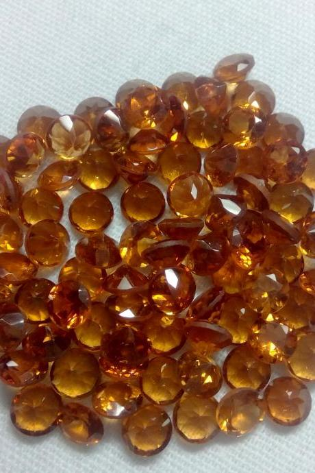 3mm Natural Hessonite Garnet - Faceted Cut Round 5 Pieces Lot Top Quality Brown Red Color - Loose Gemstone Wholesale Lot For Sale