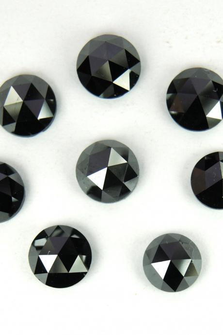 6mm Natural Black Diamond - Rose Cut Round 1 Piece Top Quality Black Color - Loose Gemstone Wholesale Lot For Sale