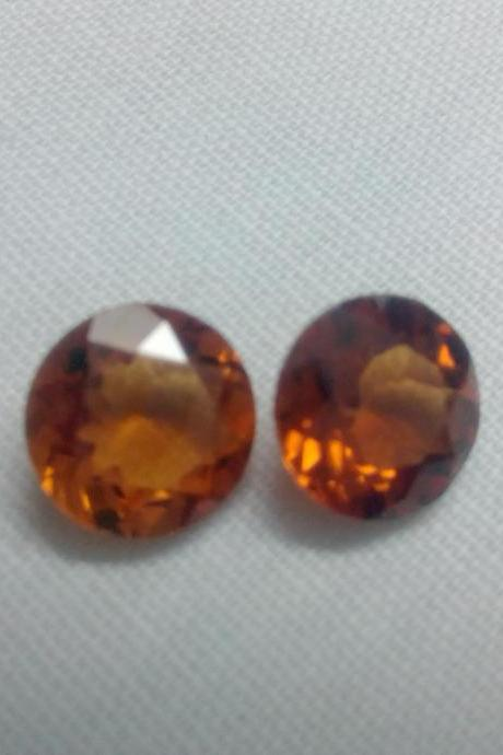 8mm Natural Hessonite Garnet - Faceted Cut Round 2 Pieces Top Quality Brown Red Color - Loose Gemstone Wholesale Lot For Sale