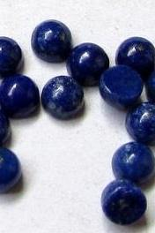 7mm Natural Lapis Lazuli - Cabochon Cut Round 10 Pieces Top Quality Blue Color - Loose Gemstone Wholesale Lot For Sale