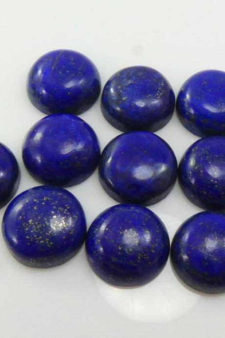 12mm Natural Lapis Lazuli - Cabochon Cut Round 5 Pieces Top Quality Blue Color - Loose Gemstone Wholesale Lot For Sale