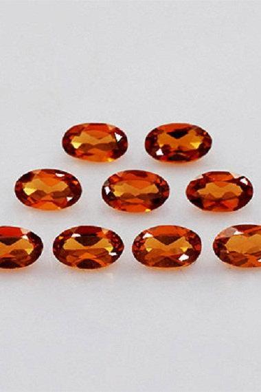 5x3mm Natural Hessonite Garnet - Faceted Cut Oval 50 Pieces Top Quality Brown Red Color - Loose Gemstone Wholesale Lot For Sale
