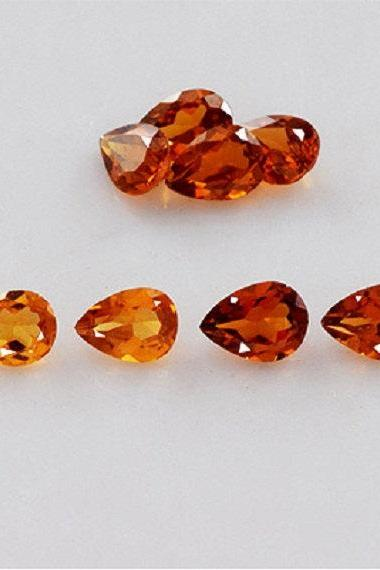 6x8mm Natural Hessonite Garnet - Faceted Cut Pear 5 Pieces Top Quality Brown Red Color - Loose Gemstone Wholesale Lot For Sale