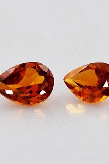 6x9mm Natural Hessonite Garnet - Faceted Cut Pear 2 Pieces Top Quality Brown Red Color - Loose Gemstone Wholesale Lot For Sale