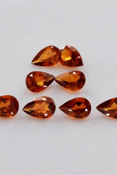 7x9mm Natural Hessonite Garnet - Faceted Cut Pear 10 Pieces Top Quality Brown Red Color - Loose Gemstone Wholesale Lot For Sale
